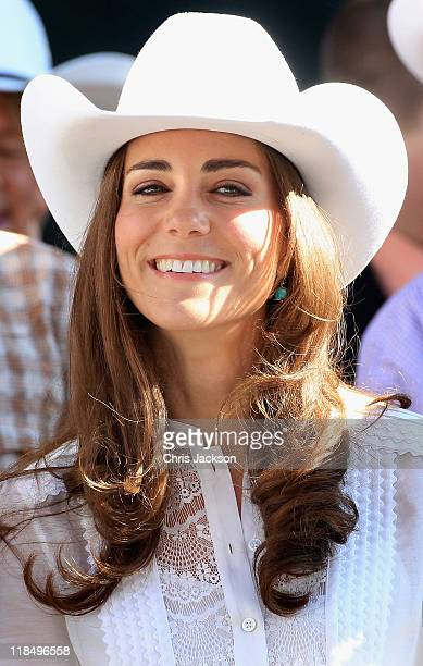 Catherine Duchess of Cambridge attends the Calgary Stampede on July 8 2011 in Calgary Canada The newly married Royal Couple are on the ninth day of...
