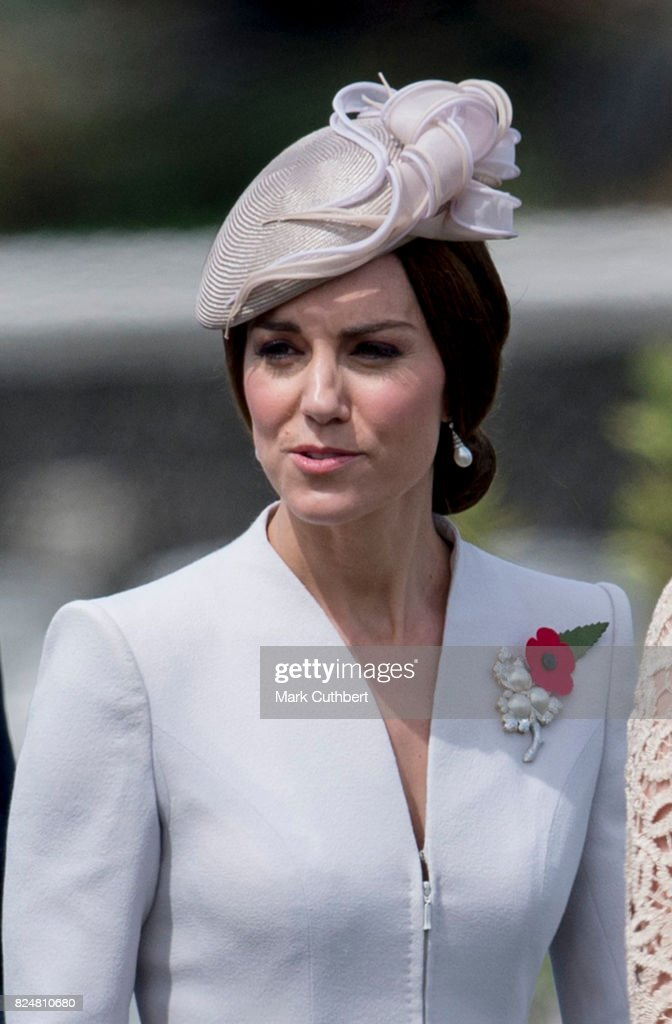 Catherine, Duchess of Cambridge attends the commemorations at the Tyne Cot Commonwealth War Graves Cemetery on July 31, 2017 in Ypres, Belgium. The commemorations mark the centenary of Passchendaele - The Third Battle of Ypres.