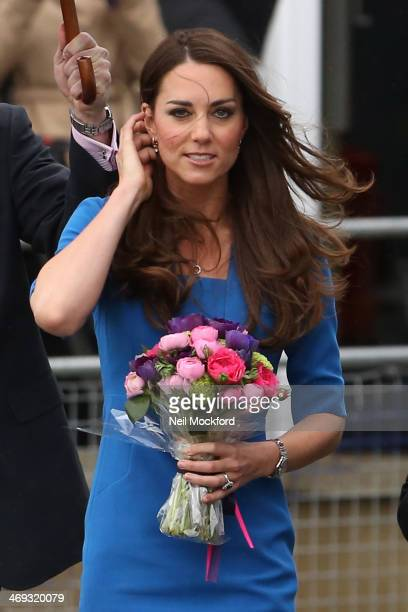 Catherine Duchess of Cambridge attends the ICAP Art Room opening at Northolt High School in Ealing on February 14 2014 in London England