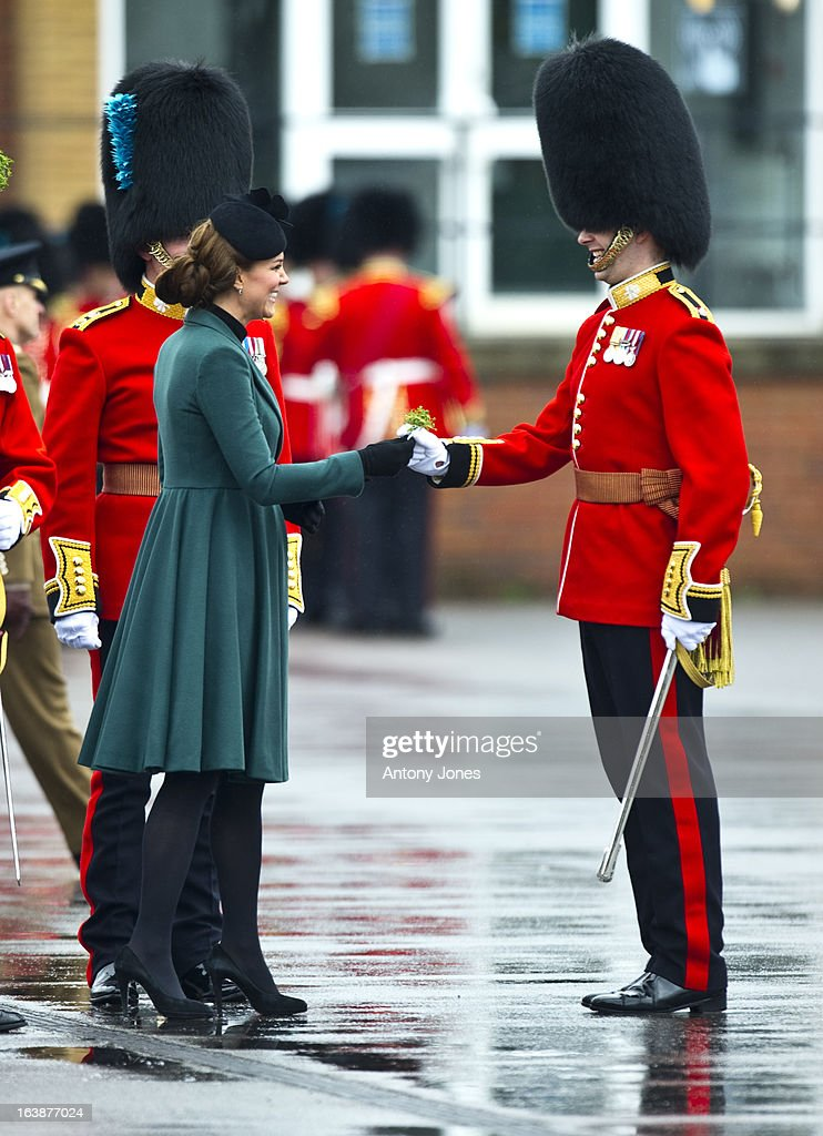 <a gi-track='captionPersonalityLinkClicked' href=/galleries/search?phrase=Catherine+-+Duchess+of+Cambridge&family=editorial&specificpeople=542588 ng-click='$event.stopPropagation()'>Catherine</a> Duchess of Cambridge attends the Irish Guards' St Patrick's Day Parade at Mons Barracks on March 17, 2013 in Aldershot, England.