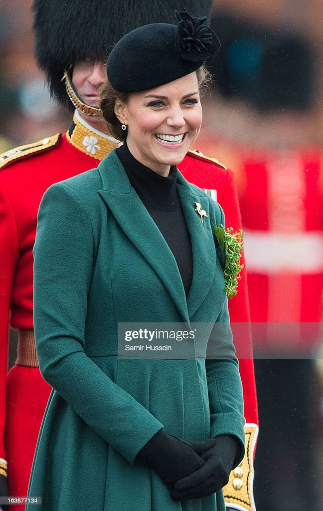 Catherine, Duchess of Cambridge attends the Irish Guards' St Patrick's Day Parade at Mons Barracks on March 17, 2013 in Aldershot, England.