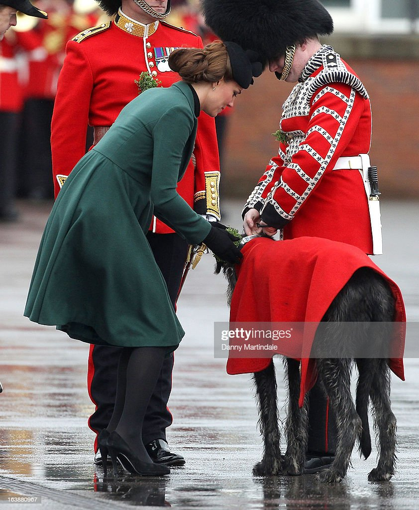 Catherine, Duchess of Cambridge attends the Irish Guards St Patricks Day Parade on March 17, 2013 in Aldershot, England.