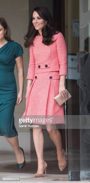 Catherine Duchess of Cambridge attends the launch of maternal mental health films ahead of mother's day at Royal College of Obstetricians and...