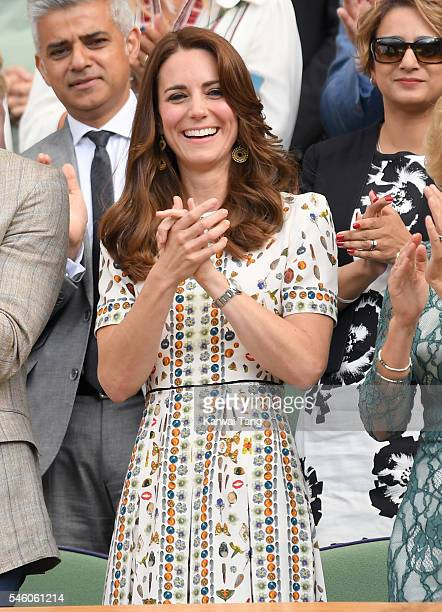 Catherine Duchess of Cambridge attends the Men's Final of the Wimbledon Tennis Championships between Milos Raonic and Andy Murray at Wimbledon on...