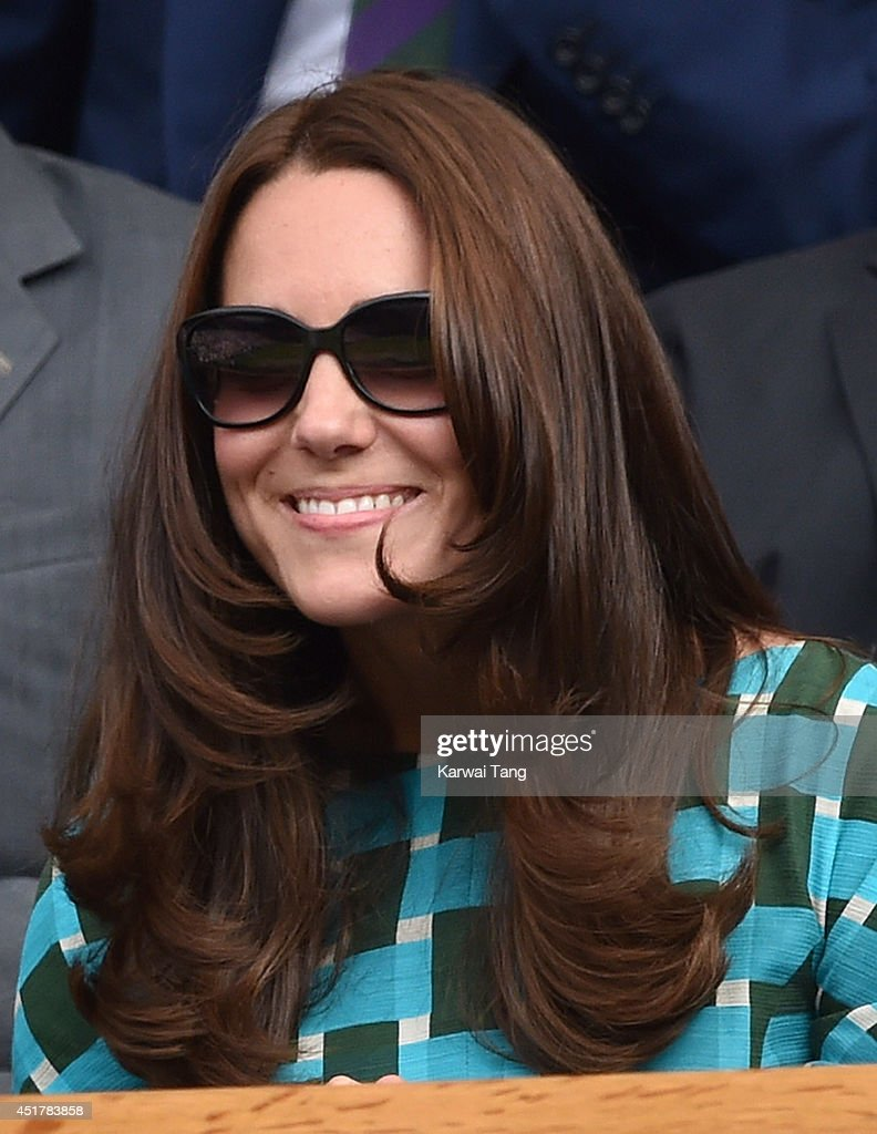 Catherine, Duchess of Cambridge attends the mens singles final between Novak Djokovic and Roger Federer on centre court during day thirteen of the Wimbledon Championships at Wimbledon on July 6, 2014 in London, England.