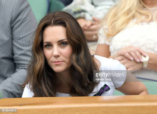 Catherine Duchess of Cambridge attends the Mens Singles Final during day thirteen of the Wimbledon Tennis Championships at the All England Lawn...