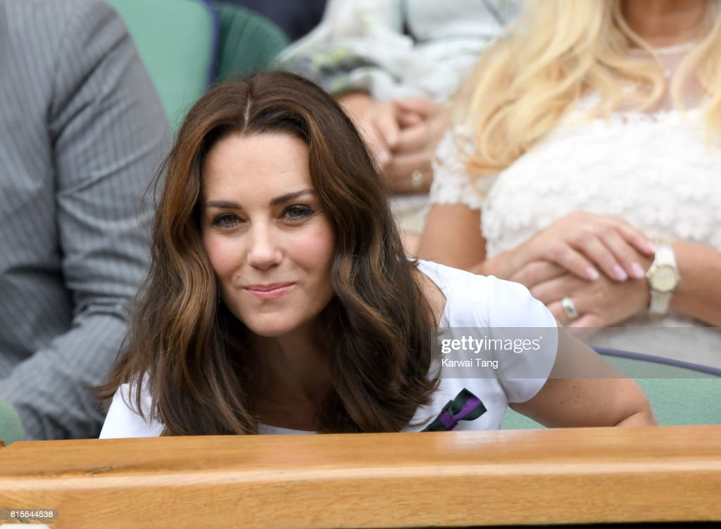 Catherine, Duchess of Cambridge attends the Mens Singles Final during day thirteen of the Wimbledon Tennis Championships at the All England Lawn Tennis and Croquet Club on July 16, 2017 in London, United Kingdom.