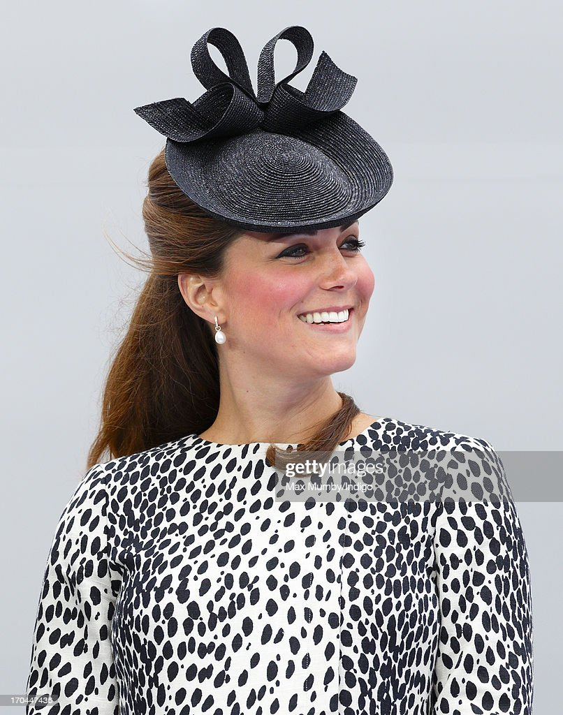 Catherine, Duchess of Cambridge attends the naming ceremony for the new Princess Cruises ship 'Royal Princess' on June 13, 2013 in Southampton, England. The Duchess of Cambridge, as the ship's godmother, officially named the Royal Princess with a traditional blessing involving smashing a bottle of Champagne over the ship's hull in what is expected to her final solo engagement before the birth of her and Prince William's child.