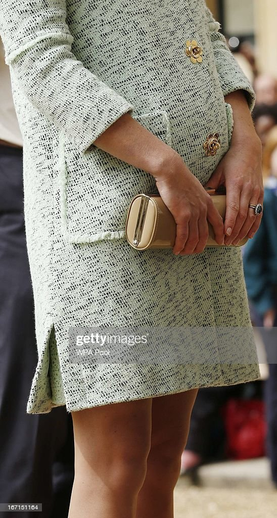 Catherine, Duchess of Cambridge attends the National Review of Queen's Scouts at Windsor Castle on April 21, 2013.