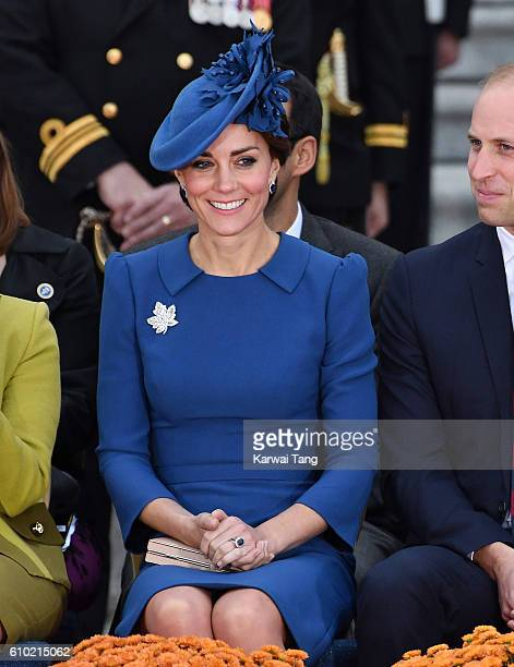 Catherine Duchess of Cambridge attends the Official Welcome Ceremony for the Royal Tour at the British Columbia Legislature on September 24 2016 in...