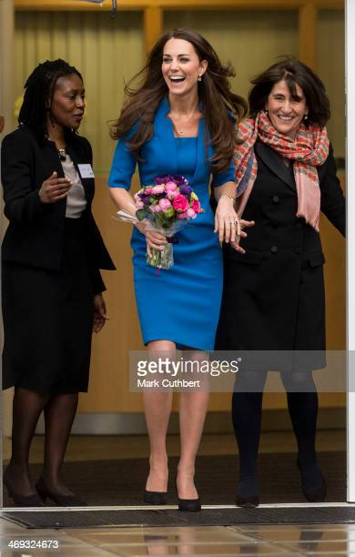 Catherine Duchess of Cambridge attends the opening of the ICAP Art Room at Northolt High School on February 14 2014 in Ealing England