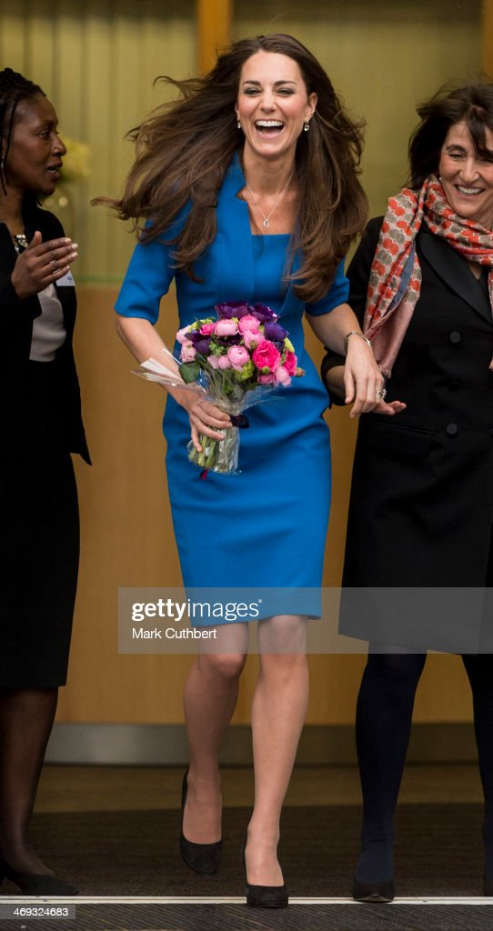 Catherine, Duchess of Cambridge attends the opening of the ICAP Art Room at Northolt High School on February 14, 2014 in Ealing, England.