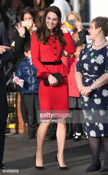 Catherine Duchess of Cambridge attends the Place2Be Big Assembly With Heads Together for Children's Mental Health Week at Mitchell Brook Primary...