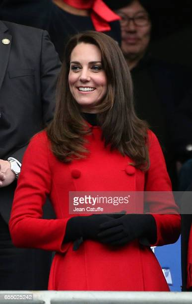 Catherine Duchess of Cambridge attends the RBS 6 Nations rugby match between France and Wales at Stade de France on March 18 2017 in SaintDenis near...