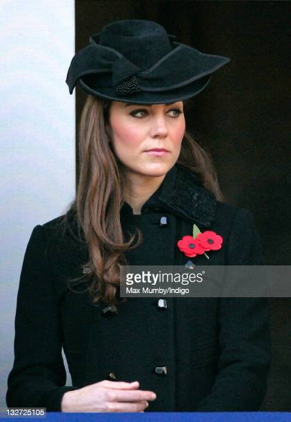 Catherine Duchess of Cambridge attends the Remembrance Day Ceremony at the Cenotaph on November 13 2011 in London United Kingdom Politicians and...