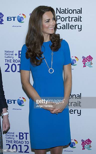 Catherine Duchess of Cambridge attends the 'Road to 2012 Aiming High' exhibition at National Portrait Gallery on July 19 2012 in London England