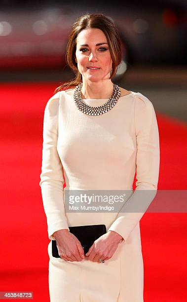 Catherine Duchess of Cambridge attends the Royal film performance of 'Mandela Long Walk to Freedom' at Odeon Leicester Square on December 5 2013 in...
