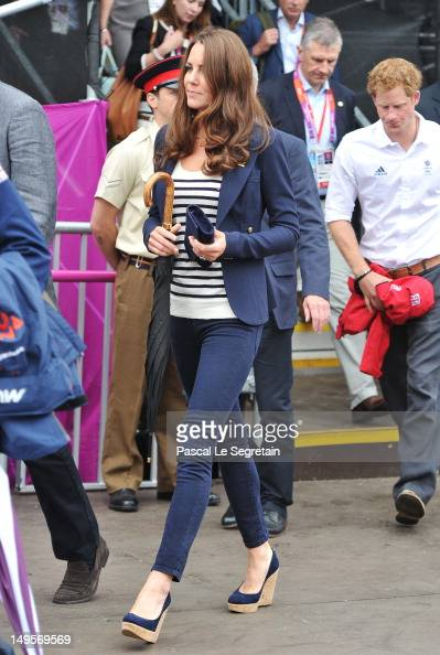 Catherine Duchess of Cambridge attends the Show Jumping Eventing Equestrian on Day 4 of the London 2012 Olympic Games at Greenwich Park on July 31...