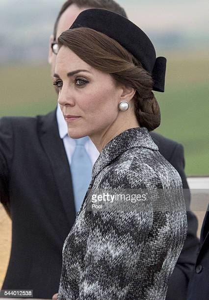 Catherine Duchess of Cambridge attends the Somme Centenary commemorations at the Thiepval Memorial on June 30 2016 in Albert France