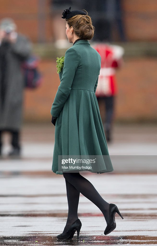 Catherine, Duchess of Cambridge attends the St Patrick's Day Parade at Mons Barracks on March 17, 2013 in Aldershot, England.