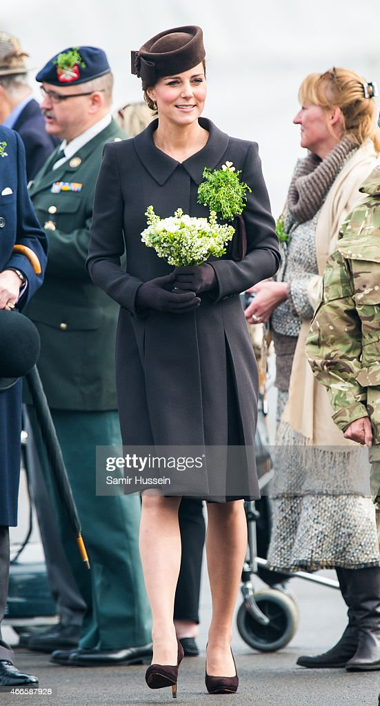 Catherine, Duchess of Cambridge attends the St Patrick's Day Parade at Mons Barracks on March 17, 2015 in Aldershot, England.