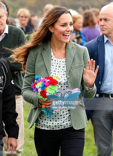 Catherine Duchess of Cambridge attends the start of the Ring O'Fire Anglesey Costal Ultra Marathon on August 30 2013 in Holyhead Wales