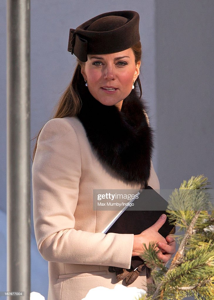 Catherine, Duchess of Cambridge attends the wedding of Laura Bechtolsheimer and Mark Tomlinson at the Protestant Church on March 2, 2013 in Arosa, Switzerland.