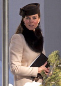 Catherine Duchess of Cambridge attends the wedding of Laura Bechtolsheimer and Mark Tomlinson at the Protestant Church on March 2 2013 in Arosa...