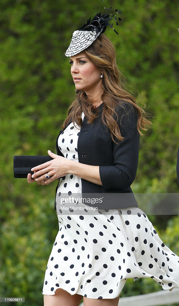 Catherine, Duchess of Cambridge attends the wedding of William van Cutsem and Rosie Ruck Keene at the church of St Mary the Virgin in Ewelme on May 11, 2013 near Oxford, England.