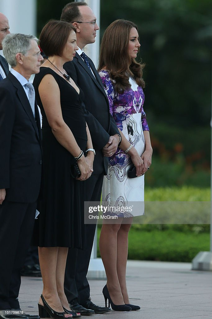 Catherine, Duchess of Cambridge (Far- R) attends the welcome ceremony on arrival at the Istana during the Diamond Jubilee tour on September 11, 2012.