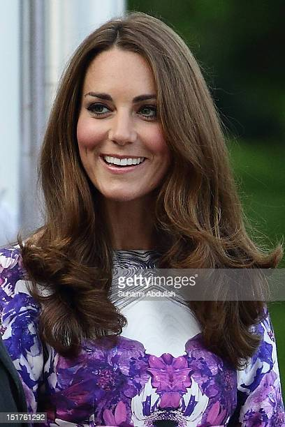 Catherine Duchess of Cambridge attends the welcome ceremony on arrival at the Istana during the Diamond Jubilee tour on September 11 2012 Prince...