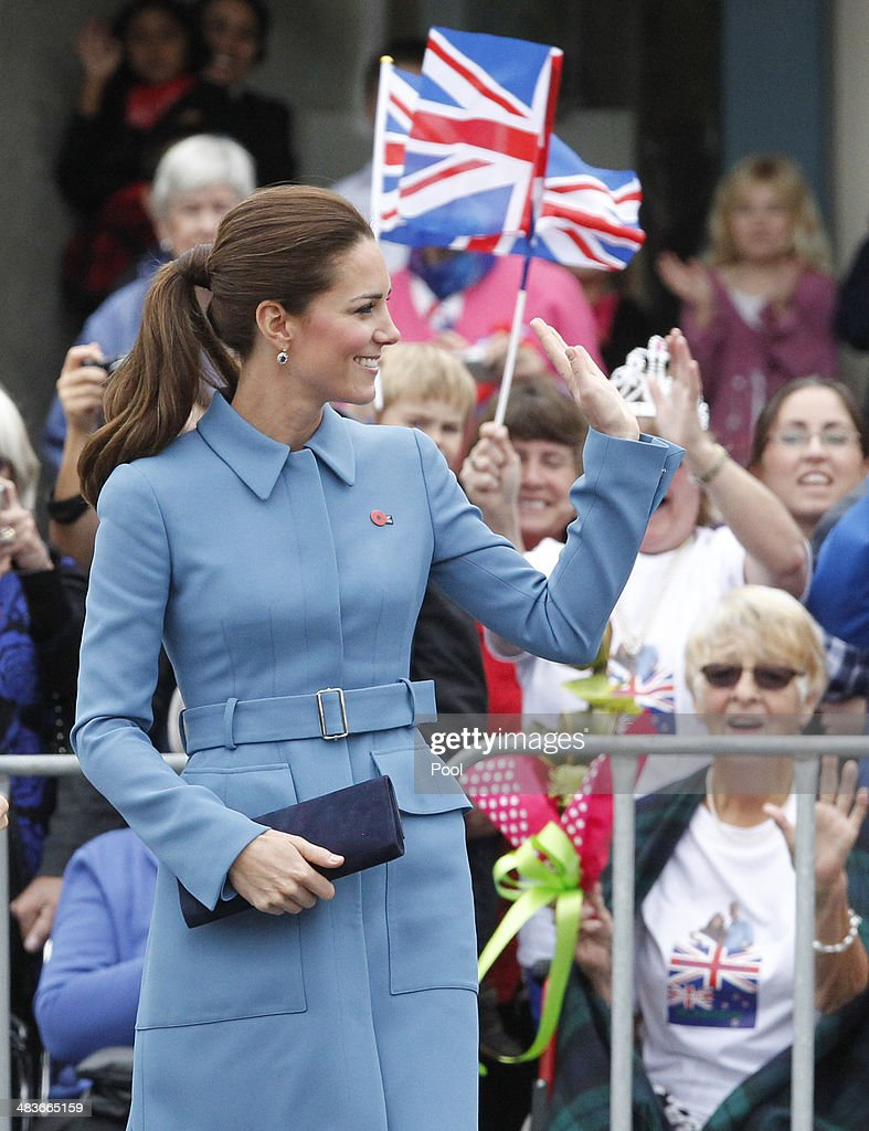 Catherine, Duchess of Cambridge attends the wreath laying ceremony at the Blenheim War Memorial on April 10, 2014 in Blenheim, New Zealand. The Duke and Duchess of Cambridge are on a three-week tour of Australia and New Zealand, the first official trip overseas with their son, Prince George of Cambridge.