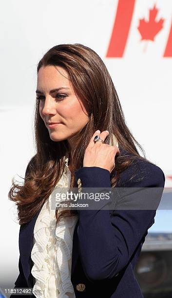 Catherine Duchess of Cambridge boards a Canadian Airforce jet to Slave Lake on July 6 2011 in Yellowknife Northern Territories Canada The newly...