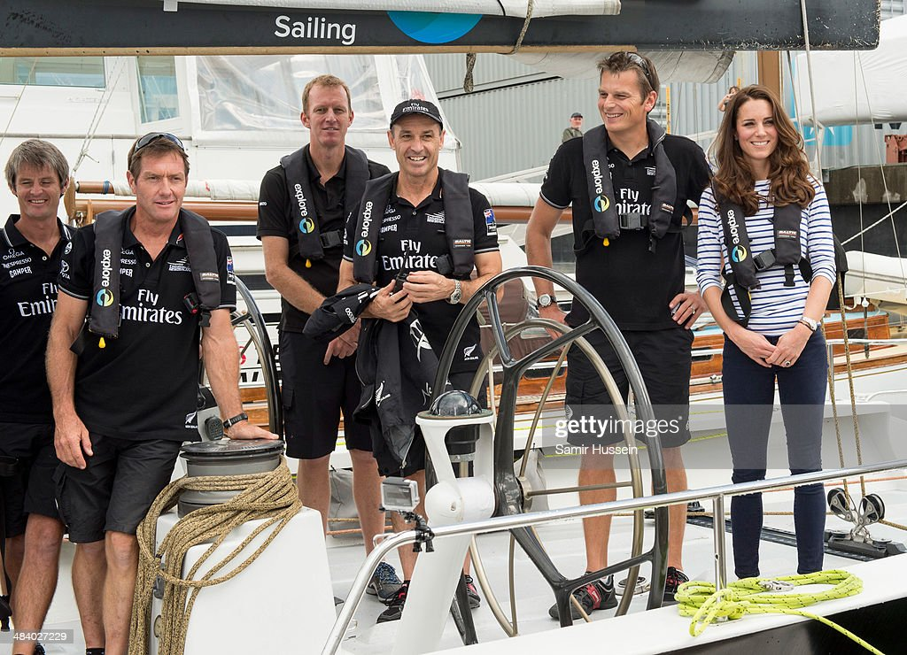Catherine, Duchess of Cambridge boards the New Zealand's Americas Cup Team yacht during their visit to Auckland Harbour on April 11, 2014 in Auckland, New Zealand. The Duke and Duchess of Cambridge are on a three-week tour of Australia and New Zealand, the first official trip overseas with their son, Prince George of Cambridge.