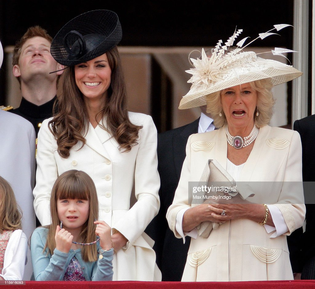 Catherine, Duchess of Cambridge, Camilla, Duchess of Cornwall and Eloise Taylor stand on the balcony of Buckingham Palace after the Trooping the Colour Parade on June 11, 2011 in London, England. The ceremony of Trooping the Colour is believed to have first been performed during the reign of King Charles II. In 1748, it was decided that the parade would be used to mark the official birthday of the Sovereign. More than 600 guardsmen and cavalry make up the parade, a celebration of the Sovereign's official birthday, although the Queen's actual birthday is on 21 April.