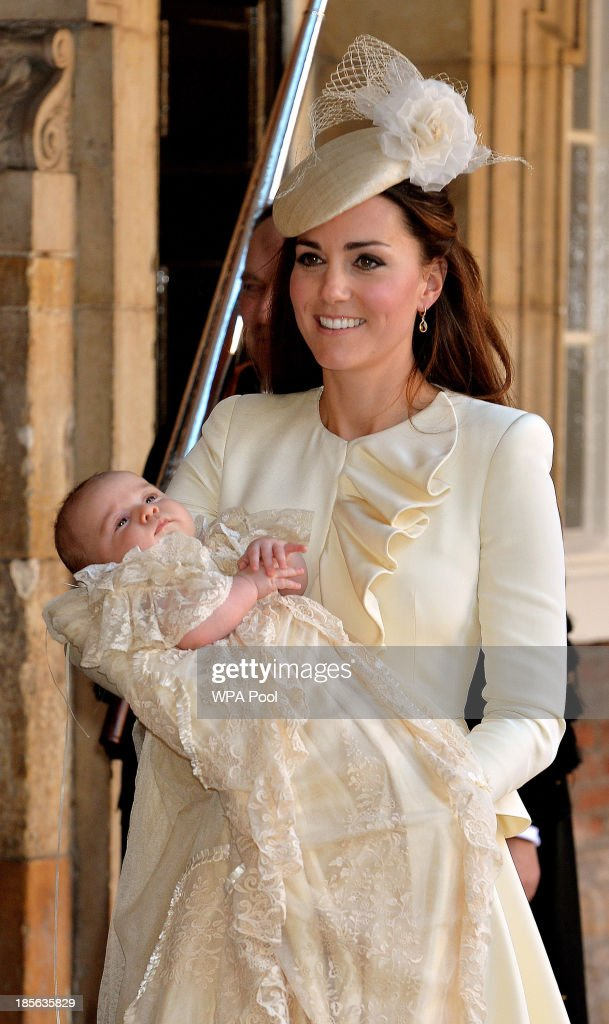 <a gi-track='captionPersonalityLinkClicked' href=/galleries/search?phrase=Catherine+-+Duchess+of+Cambridge&family=editorial&specificpeople=542588 ng-click='$event.stopPropagation()'>Catherine</a>, Duchess of Cambridge carries her son Prince George Of Cambridge after his christening at the Chapel Royal in St James's Palace on October 23, 2013 in London, England.