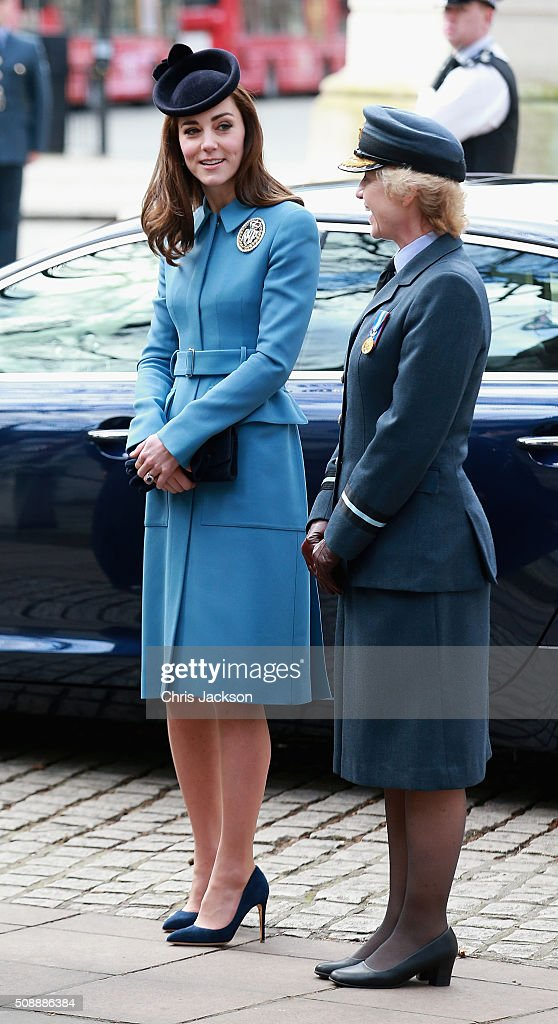 <a gi-track='captionPersonalityLinkClicked' href=/galleries/search?phrase=Catherine+-+Duchess+of+Cambridge&family=editorial&specificpeople=542588 ng-click='$event.stopPropagation()'>Catherine</a>, Duchess of Cambridge chats to Air Commodore Dawn McCafferty as she arrives for the 75th Anniversary of the RAF Air Cadets at St Clement Danes Church on February 7, 2016 in London, England.