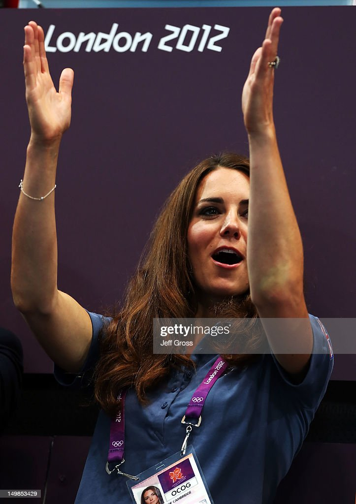 Catherine, Duchess of Cambridge cheers during the Women's Handball Preliminaries Group A match between Great Britain and Croatia on Day 9 of the London 2012 Olympic Games at the Copper Box on August 5, 2012 in London, England.