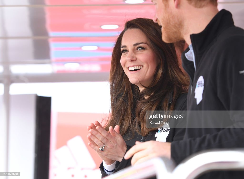 Catherine, Duchess of Cambridge cheers on the runners after starting the 2017 Virgin Money London Marathon with Prince WIlliam, Duke of Cambridge and Prince Harry on April 23, 2017 in London, England.