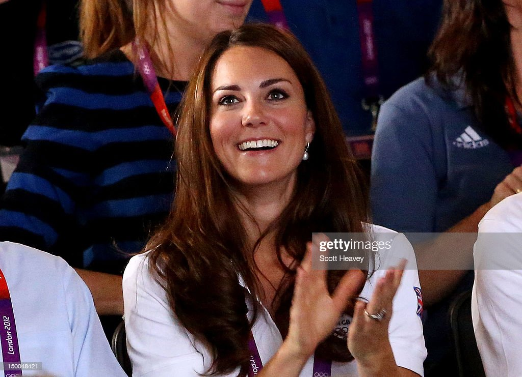 Catherine, Duchess of Cambridge, claps as Nicola Adams of Great Britain competes against Cancan Ren of China during the Women's Fly (51kg) Boxing final bout on Day 13 of the London 2012 Olympic Games at ExCeL on August 9, 2012 in London, England.