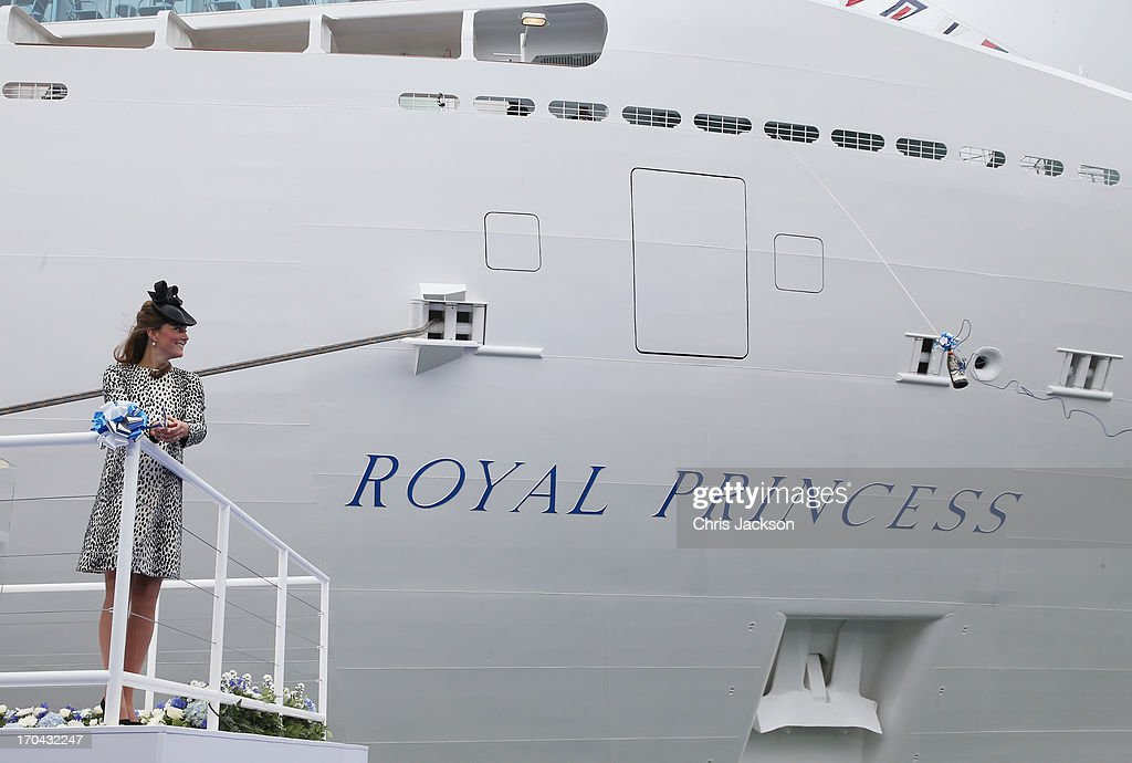 Catherine, Duchess of Cambridge cuts the ribbon to break the bottle of Moet & Chandon Brut Imperial Champagne against the ship for the Princess Cruises naming ceremony at Ocean Terminal on June 13, 2013 in Southampton, England.