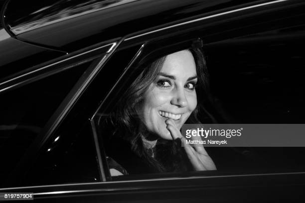 Catherine Duchess of Cambridge departs after attending a reception with creatives at 'Claerchens Ballhaus' the last original dancehall in Berlin on...