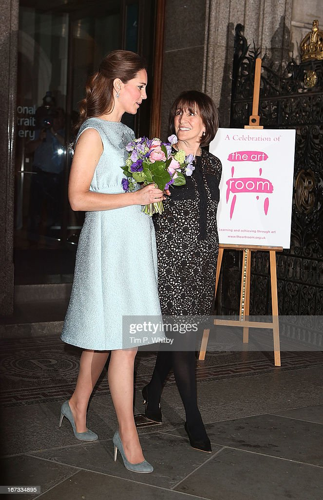 Catherine, Duchess of Cambridge departs after attending an evening reception to celebrate the work of The Art Room charity at The National Portrait Gallery on April 24, 2013 in London, England.