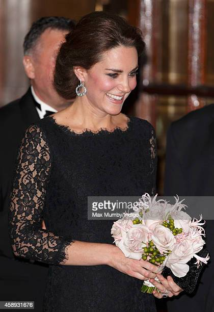 Catherine Duchess of Cambridge departs after attending the Royal Variety Performance at the London Palladium on November 13 2014 in London England