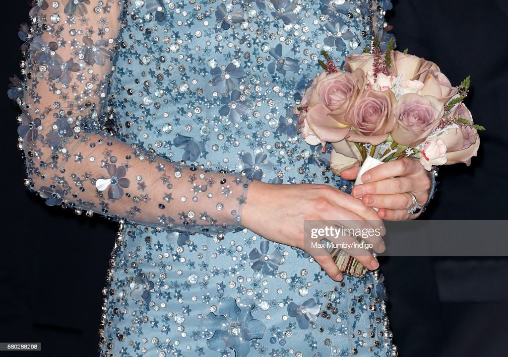 Catherine, Duchess of Cambridge (posy detail) departs after attending the Royal Variety Performance at the Palladium Theatre on November 24, 2017 in London, England.
