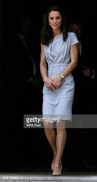 Catherine Duchess of Cambridge departs after undertaking her first engagement as Patron of the Anna Freud Centre by attending a lunch reception...