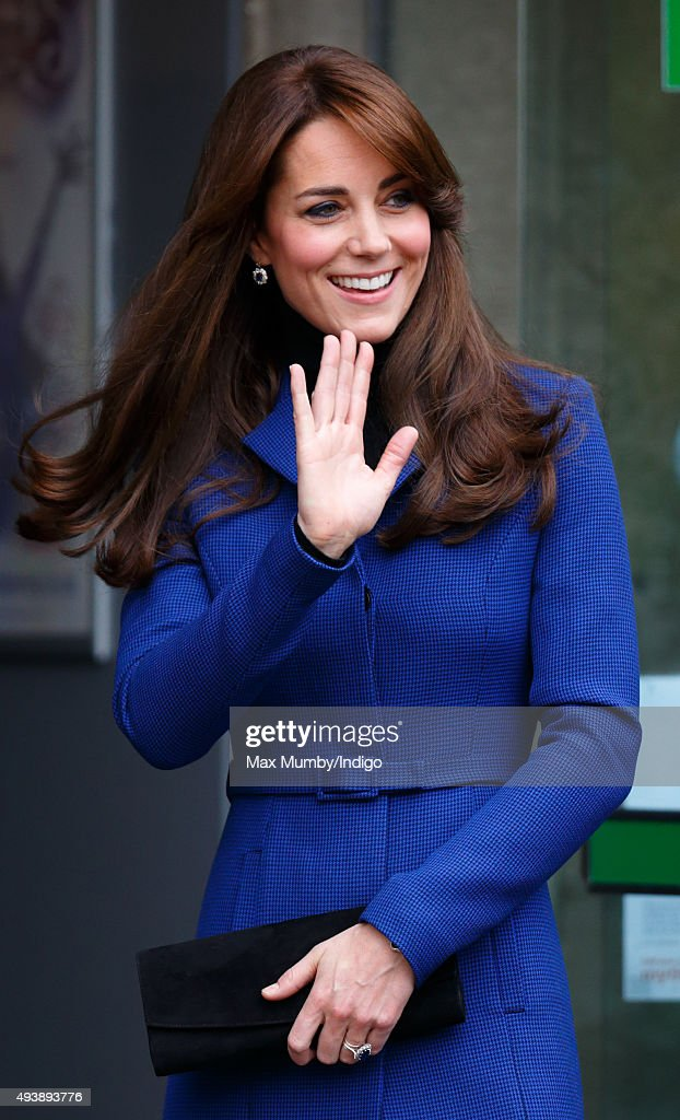 Catherine Duchess of Cambridge departs after visiting the Dundee Rep Theatre as part of an away day to the Scottish City on October 23 2015 in Dundee...