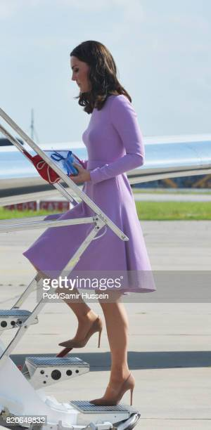 Catherine Duchess of Cambridge departs from Hamburg airport on the last day of their official visit to Poland and Germany on July 21 2017 in Hamburg...