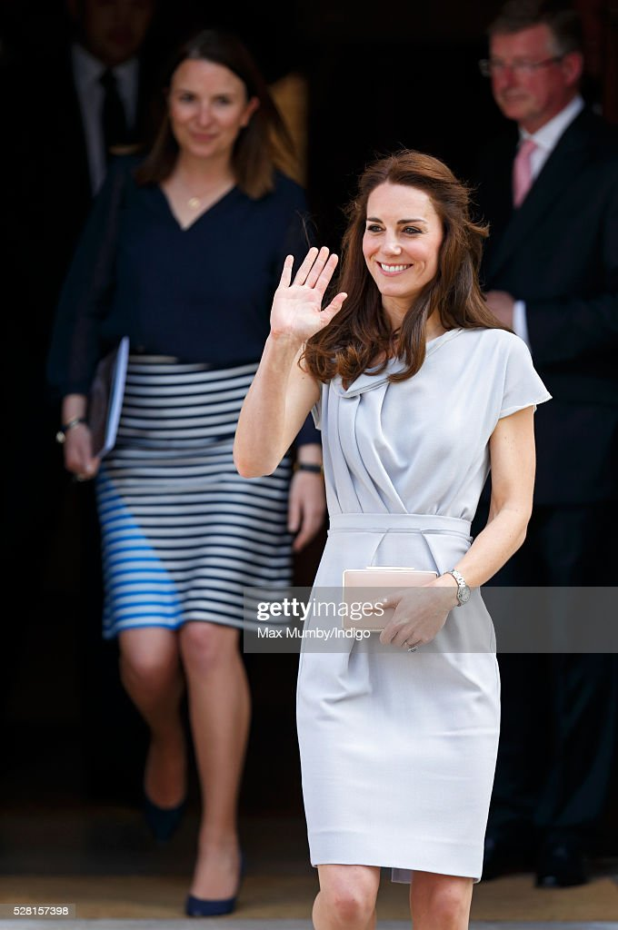 Catherine, Duchess of Cambridge (followed by her Private Secretary Rebecca Deacon) departs Spencer House after attending a lunch in aid of The Anna Freud Centre on May 4, 2016 in London, England.