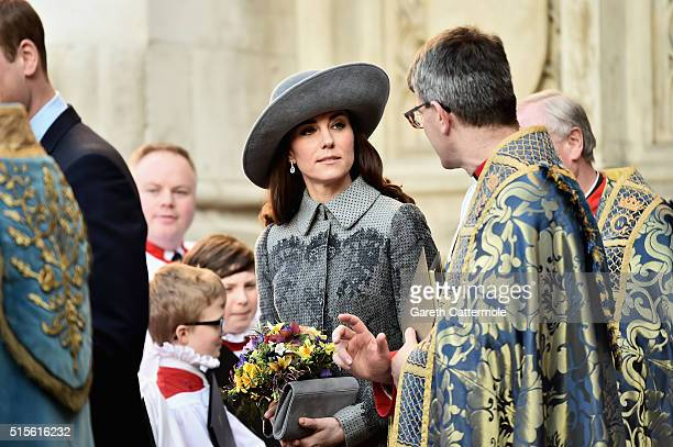 Catherine Duchess of Cambridge departs the Commonwealth Observance Day Service on March 14 2016 in London United Kingdom The service is the largest...